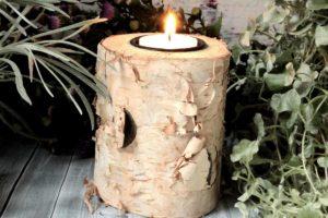 Teelichthalter Holz Stämmchen mit Stern