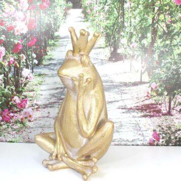 Deko Figur Frosch König Gold