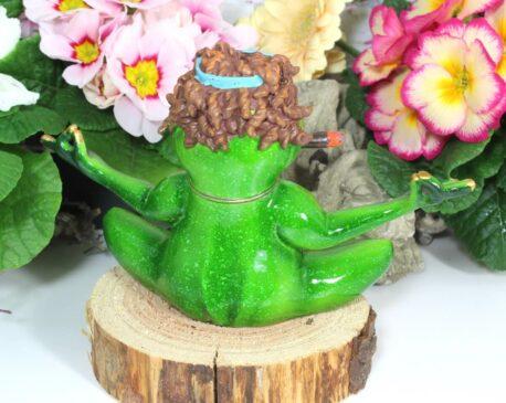 Deko Figur Grüner Peace Frosch Handmade