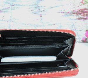 Geldbörse Portemonnaie Damen Red feine Lederoptik mit Nieten 50% Sparen