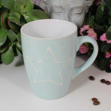Henkelbecher Kaffeetasse Mint mit Stern