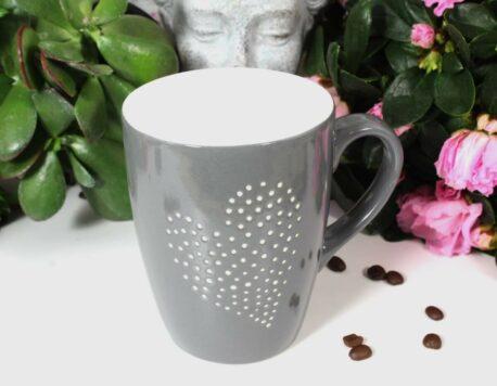 Henkelbecher Kaffeetasse grau mit Herz