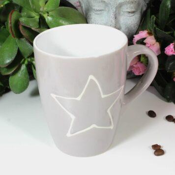 Henkelbecher Kaffeetasse grau mit Stern