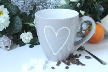 Henkelbecher Kaffeetasse mit Bild Herz von Wurm