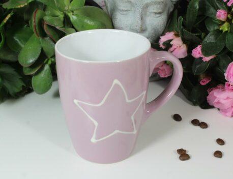 Henkelbecher Kaffeetasse rose mit Stern