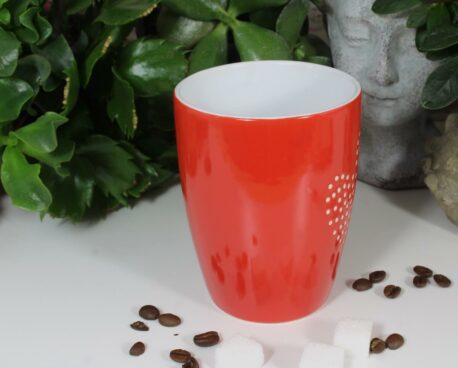 Henkelbecher Kaffeetasse rot mit Herz