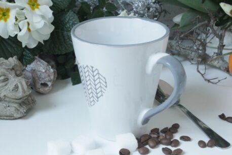 Henkelbecher Kaffeetasse weiss Herz von Wurm