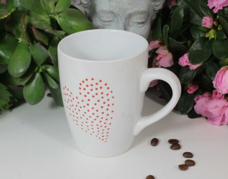Henkelbecher Kaffeetasse weiss mit Herz