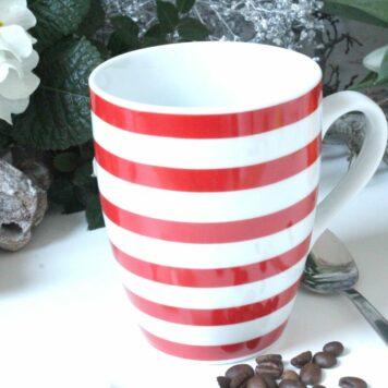 Henkelbecher Kaffeetasse weiss rot Ringel von Wurm