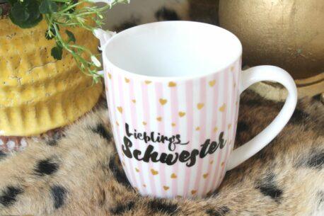 Henkelbecher Sprüche Kaffeetasse Lieblingsschwester