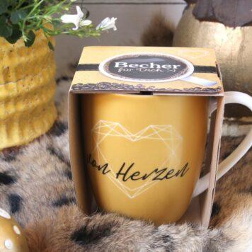 Henkelbecher Sprüche Kaffeetasse Von Herzen