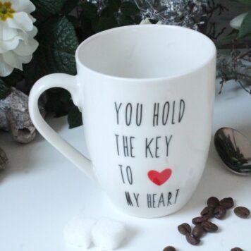Henkelbecher Sprüche Tasse Kaffeetasse You Hold The Key To My Heart