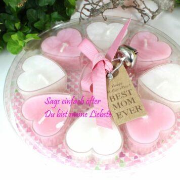 Teelichter in Herzform Set Weiss rosa Best Mom Ever 10tlg.