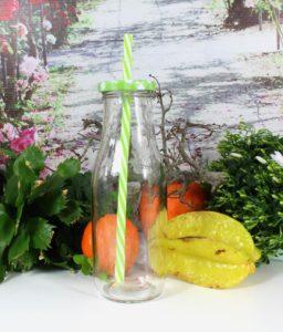 Trinkflaschen 4er Set mit Deckel Trinkhalm Trinkglas-Cocktailglas-Wasserglas