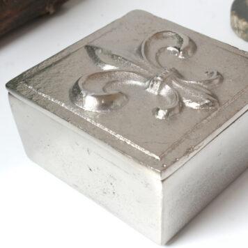 Colmore Edle Aluminium Dose Aufbewahrung Box Fleur-de-Lis