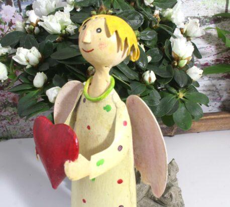 Deko Figur Dekoration Blechpuppe Schutzengel Gelb