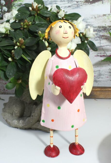 Deko Figur Dekoration Blechpuppe Schutzengel Rosa