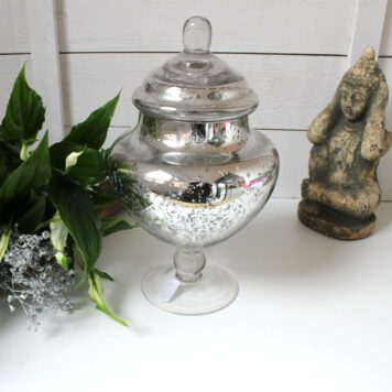 Deko Glas Shabby Silber mit Stiel und Deckel