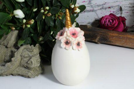 Dekofigur Blüten Deko Ei Einhorn