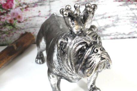 Dekofigur Bulldogge Big Dog Silber mit Krone