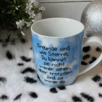 Henkelbecher Sprüche Kaffeetasse Freunde sind wie Sterne....