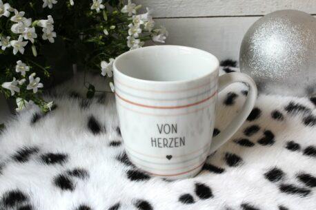 Henkelbecher Sprüche Kaffeetasse Von Herzen Heart1