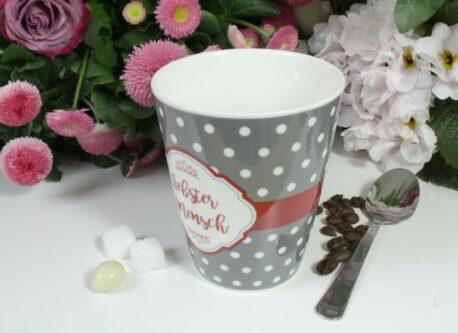 Henkelbecher Sprüche Kaffeetasse Liebster Mensch grey