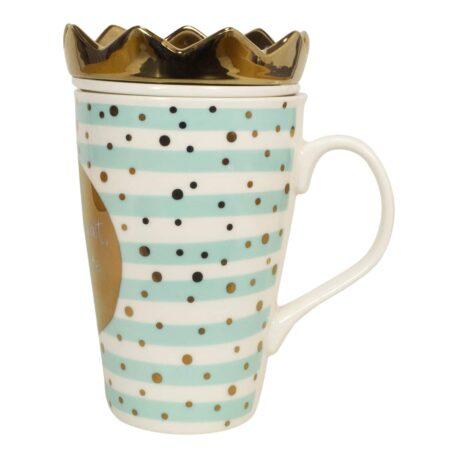Mea Living Henkelbecher mit Teesieb und Krone Freundschaft ist das Seil das hält wenn alle Stricke reissen