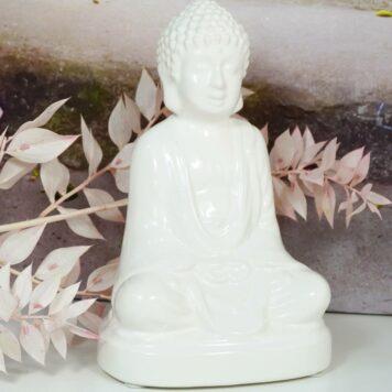 Buddha Porzellan Figur Weiss Dhyana Mudra Geste