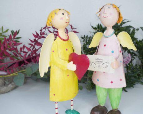 Deko Figur Dekoration Blechpuppe Schutzengel Paar