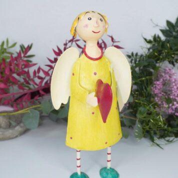 Deko Figur Dekoration Blechpuppe Schutzengel mit Herz