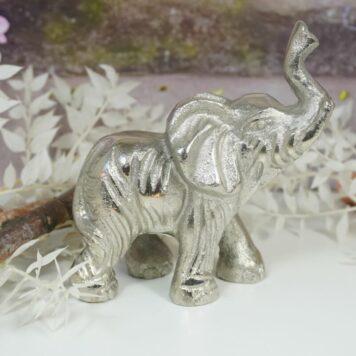 Dekofigur Baby Elefant Skulptur Alu Silberfarben