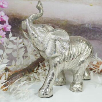 Dekofigur Elefant Skulptur Alu Silberfarben