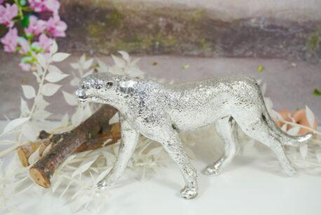 Dekofigur Leopard Skulptur Silberfarben