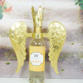 Flaschendeko Set Flügel mit Krönchen Gold