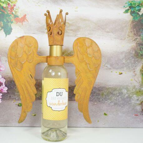 Flaschendeko Set Flügel mit Krönchen Rostfarben