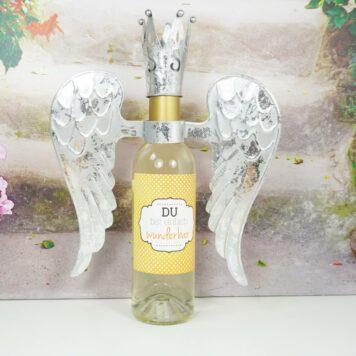 Flaschendeko Set Flügel mit Krönchen Silber