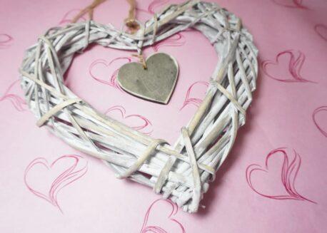 Herz für Dich Aufhänger Rattan Dekoartikel