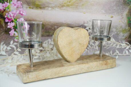 Teelichthalter Kerzenhalter Kerzenständer Herz Alu & Holz