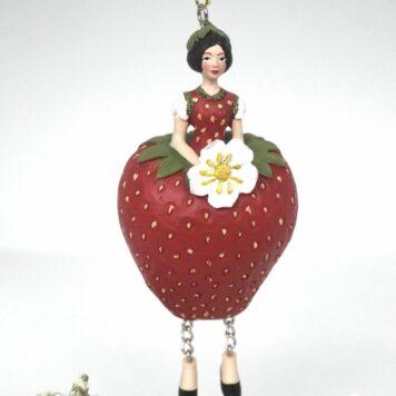 Deko Figur Blumenmädchen Erdbeermädchen zum Hängen