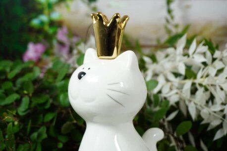 Dekofigur Katze Porzellan Weiss Cat Queen