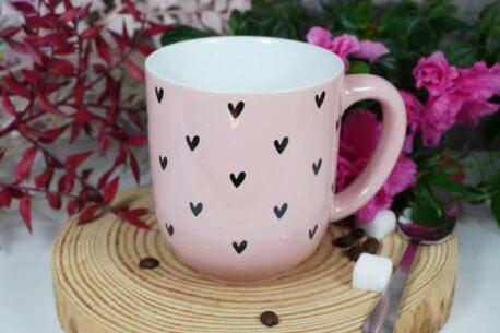 Henkelbecher Sprüche Kaffeetasse Grau Herz