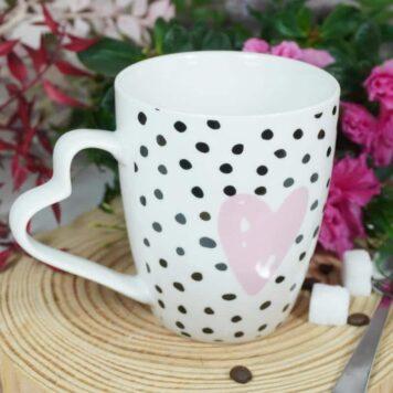 Henkelbecher Sprüche Kaffeetasse Herz Pünktchen