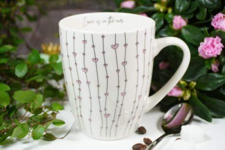 Henkelbecher Sprüche Kaffeetasse Herzchen Rose