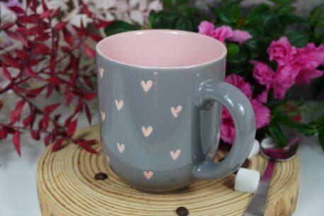 Henkelbecher Sprüche Kaffeetasse Rosa Herz