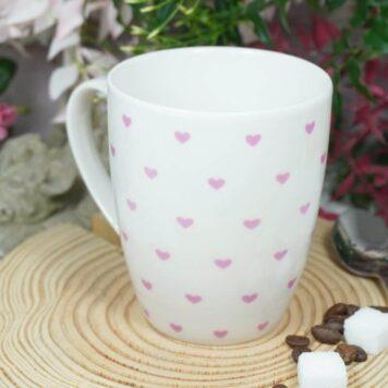 Henkelbecher Sprüche Kaffeetasse Rosa Herzchen