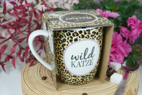 Henkelbecher Sprüche Kaffeetasse Wild Katze