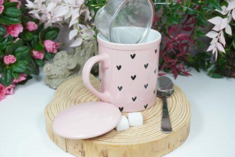 Henkelbecher Teetasse mit Deckel und Sieb Rosa Herz