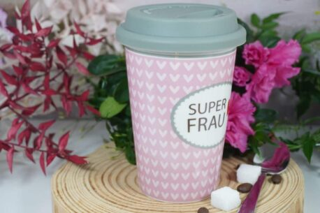 Coffee To Go Becher mit Deckel Superfrauecher mit Deckel Superfrau