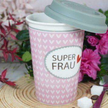 Coffee To Go Becher mit Deckel Superfrau